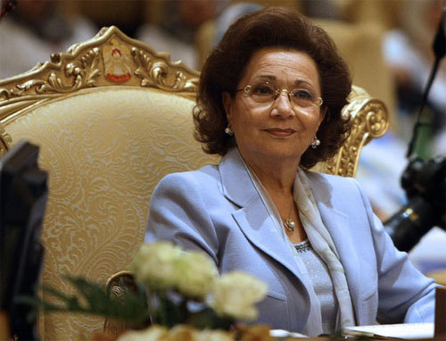 Suzanne Mubarak is the wife of ousted Egyptian President Hosni Mubarak. She is the daughter of an Egyptian pediatrician, Saleh Thabet, and British nurse Lily May Palmer. Hosni Mubarak ruled Egypt from 1981 to 2011. They have two sons