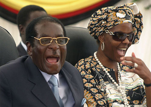 Grace Mugabe is the wife of Zimbabwe's President Robert Mugabe. He was elected to power in 1980. The couple were married in an extravagant Catholic mass, titled the 'Wedding of the Century' by the Zimbabwe press, after the death of Mr. Mugabe's first wife, Sally Hayfron. The Mugabe's have four children