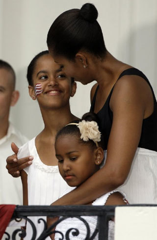At a Fourth of July party on the South Lawn of the White House, 7/2009