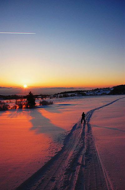 Hoàng hôn mùa đông ở thành phố Quebec.