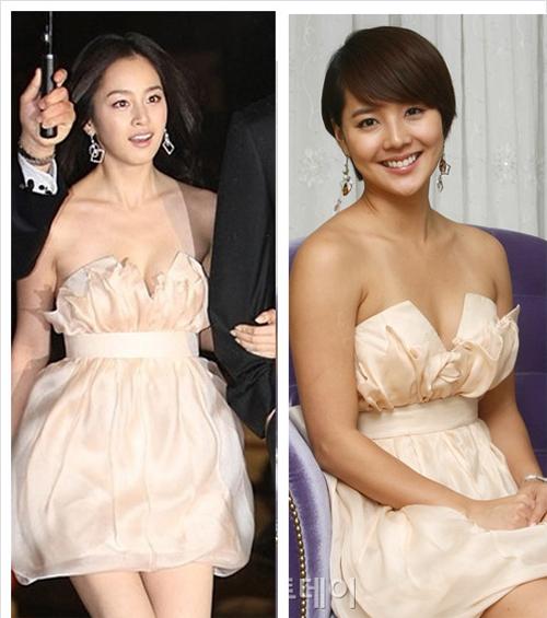 Cả Kim Tae Hee và Eugene đều rất duyên dáng trong bộ váy này.