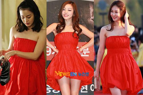 Kim Tae Hee diện chiếc váy quây đỏ rực rỡ khi đóng 'My Princess'. Sau đó, Go Hara và