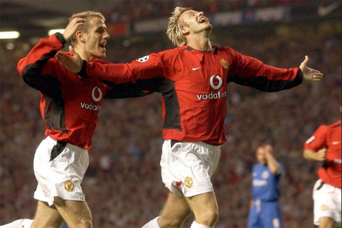 David Beckham in the Champions League game