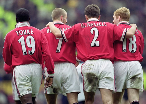 In 2000, David Beckham, Gary, Paul Scholes and York in the game