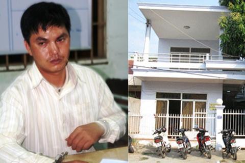 Gã giết người Phương (trái) và căn nhà của nữ thủ quỹ.