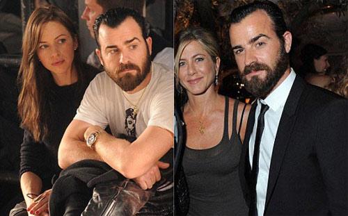Justin Theroux bên bạn gái cũ (trái) và Jennifer Aniston