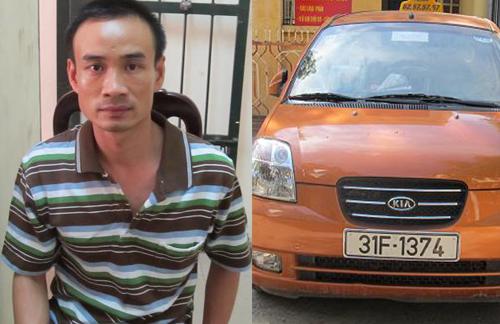Tài xế Nguyễn Đức Long và chiếc taxi tại trụ sở cảnh sát.