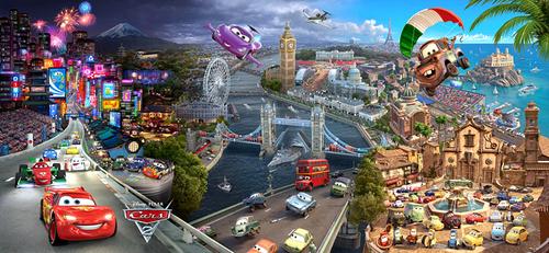 Poster của bộ phim Cars 2 với nền là bốn đất nước tuyệt đẹp như Nhật Bản, Anh, Pháp, Italy.