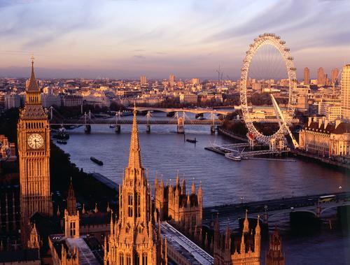 Đồng hồ Bigben và vòng quay London Eye.