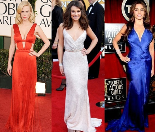 January Jones, in Versace, Lea Michele, in Oscar de la Renta, and Sofia Vergara