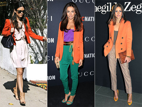 Áo blazer màu cam như Rachel Bilson, Camilla Belle và Olivia Palermo.