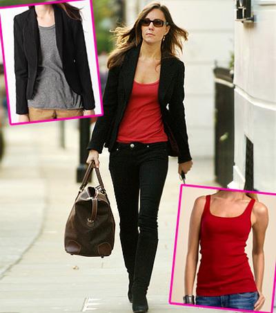 Kate khéo léo khi 'mix' blazer đen với áo ba lỗ đỏ ở bên trong, làm nổi bật lên thân hình thon gọn.