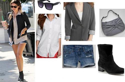 Quần short jeans và áo sơ mi cũng là một trong những trang phục rất dễ 'mix' cùng áo blazer.