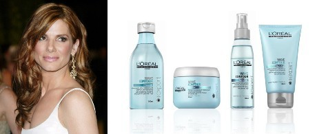 Sandra Bullock - Bộ sản phẩm chăm sóc tóc uốn LOréal Professionnel Wave Contour.