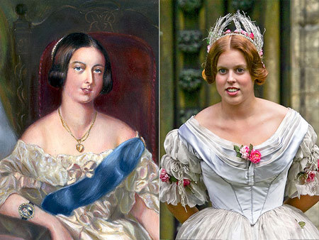 And you thought Beatrice looked like her dear old dad! It turns out the 22-year-old daughter of Prince Andrew and Sarah Ferguson bears an uncanny resemblance to her great-great-great-great-grandmother Queen Victoria  no wonder she was cast as a lady-in-waiting in the 2009 production of The Young Victoria.