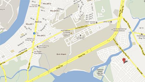 Bản đồ đường đi tới đồng cỏ Cát Lái. Điểm đến được ghi chữ A.