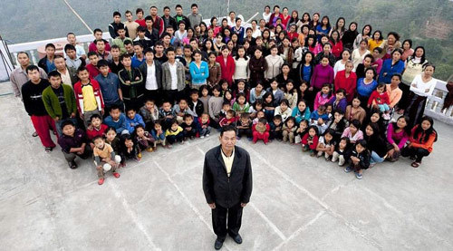 Ziona Chana, a 66-year-old Indian man who has 39 wives, 94 children and 33 grandchildren, is probably the head of the world's biggest family