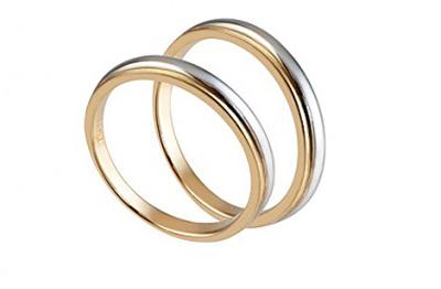 Nhẫn pha vàng trắng và vàng tây của nhãn hiệu thời trang PNJ.