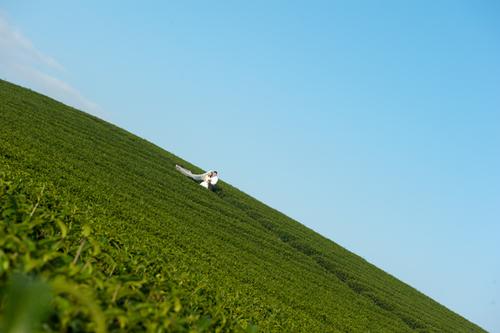 Nhiều người thích bầu trời xanh ngắt tại Mộc Châu.