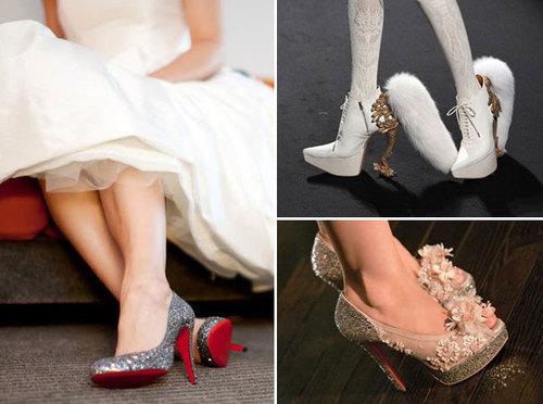 Những chiếc váy cưới ngắn sẽ làm nổi bật các đôi giày mang phong cách ấn tượng của cô dâu.