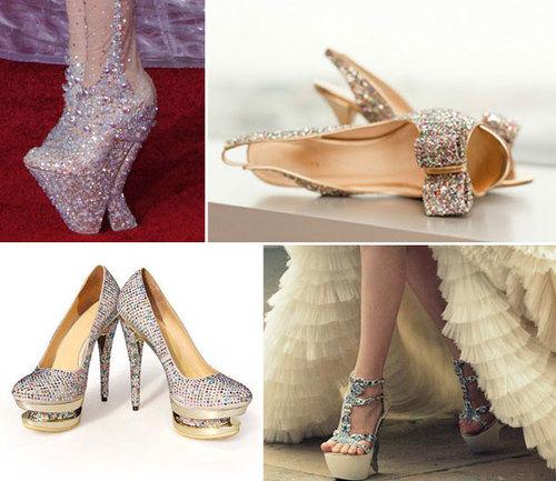 Lady Gaga đặc biệt yêu thích những đôi giày có phần đế ấn tượng. Nếu cô dâu là người có cá tính mạnh, ưa mạo hiểm và thích sự nổi bật thì không có lý do gì không chọn những đôi giày này.