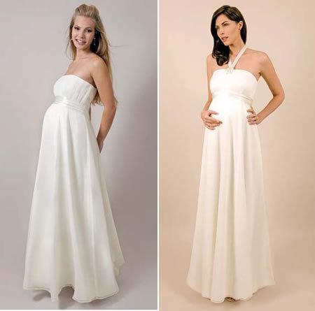 Những kiểu váy cưới cho bà bầu thường đẩy phần eo váy lên cao, ở phần chân váy có xếp ly.
