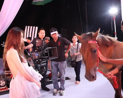 Để quay MV cho ca khúc chủ đề album nhạc dance Vẫn mãi yêu anh sắp sửa phát hành, Thủy Tiên và ê-kíp quyết định thuê hẳn một con ngựa thật để đưa vào studio.