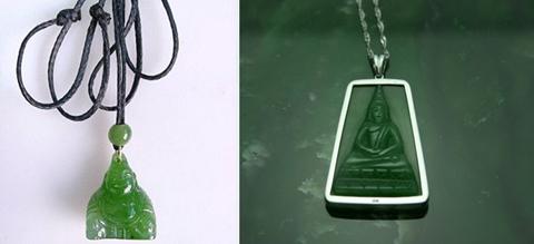 Mặt đeo Phật Di Lạc và Phật Thích Ca với chất lượng ngọc đẹp thượng hạng.