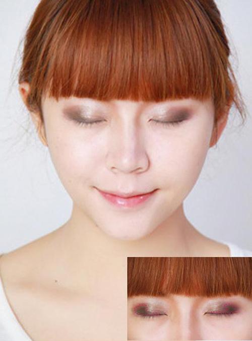 Đánh phấn màu nâu đậm lên đuôi mắt và viền mí mắt