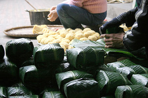 Bánh chưng ngày Tết của Việt Nam. Ảnh: Thanh Tùng.