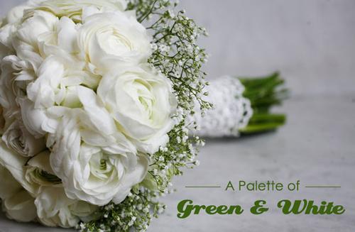 Tươi mới với tiệc cưới xanh và trắng
