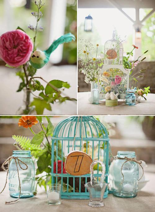Trang trí đám cưới vintage với lồng chim