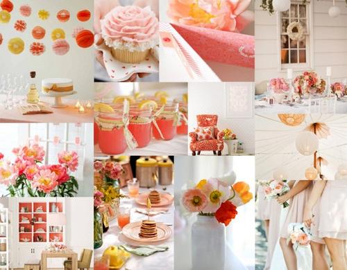 Nếu muốn hiện đại hơn, bạn hãy chọn cho đám cưới của mình tông màu da cam và hồng rực rỡ hơn.