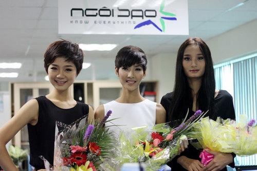 Top 3 Vietnam's Next Top Model xuất hiện tại tòa soạn Ngoisao.net với vẻ rạng ngời.