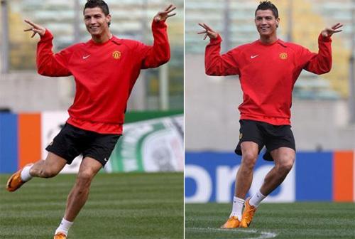 Ronaldo và vũ điệu 'ông rùa' trên sân tập.