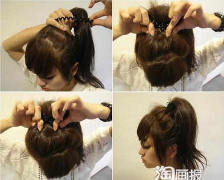 - Túm tất cả đuôi tóc lên cao, buộc lại