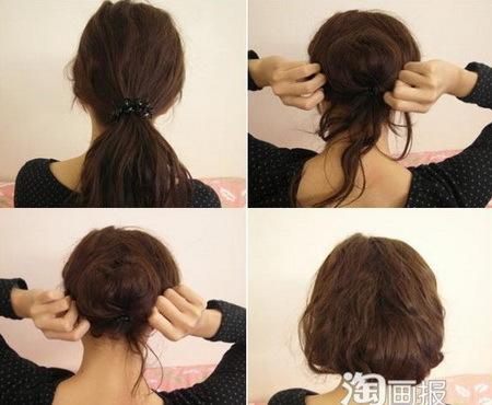 - Buộc lỏng đuôi tóc phía sau