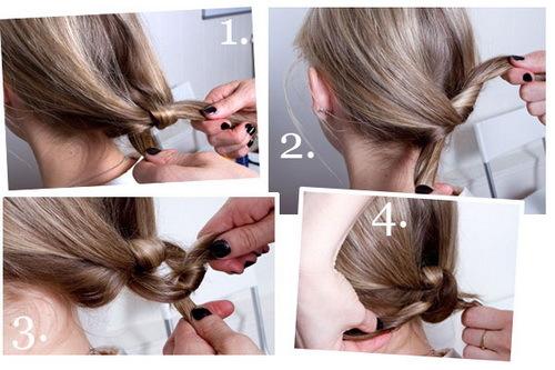 - Chia đuôi tóc thành hai phần