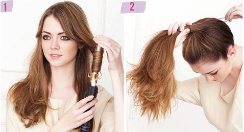 Uốn xoăn nhẹ phần đuôi tóc. Sau đó, buộc toàn bộ tóc lên cao