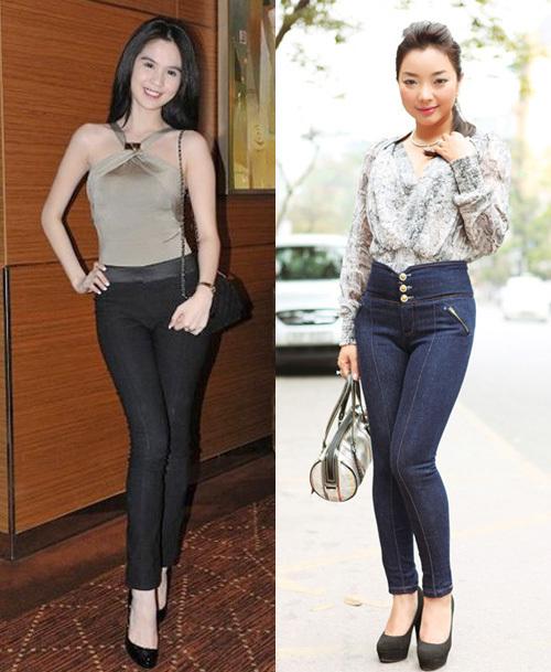 'Nữ hoàng nội y' Ngọc Trinh và ca sĩ Phương Anh đều rất cá tính trong chiếc quần tregging chất liệu jeans.