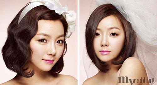 Những cô dâu tóc dày có thể để tóc thẳng tự nhiên hoặc xoăn nhẹ.