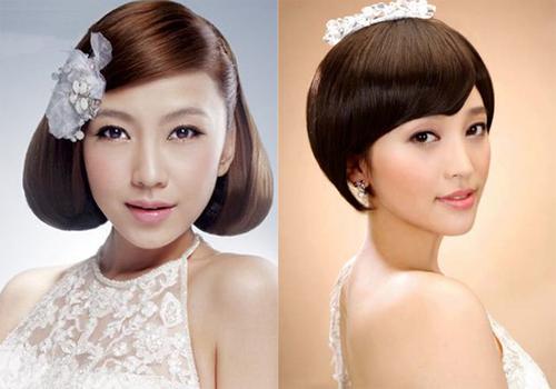 Cô dâu tóc mỏng cũng có thể sấy phồng để tạo cảm giác mái tóc dày dặn hơn.