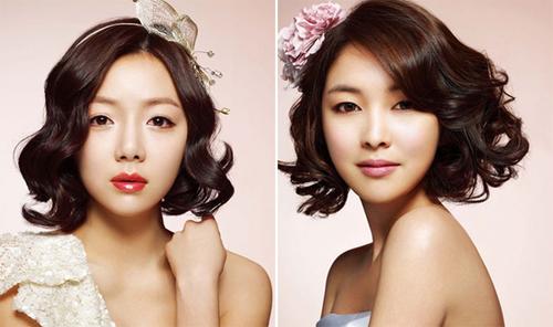 Mái tóc gợn sóng xoăn nhẹ sẽ hợp với những cô dâu tóc mỏng.