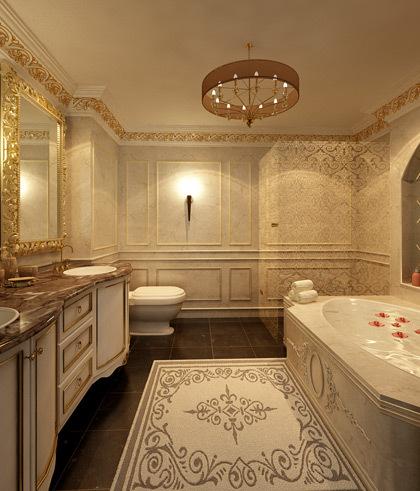 Phòng tắm tại căn hộ được mạ vàng 24K, sử dụng tại các tòa nhà nổi tiếng thế giới như The Ritz - Las Vegas, Hilton Club - NewYork. Men sứ được chế tác bằng tay, chịu được nhiệt độ cao, bền và sáng bóng. Bề mặt men bóng chống bám bẩn và trầy xước.