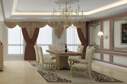 Nội thất mang đường nét uốn lượn, nhẹ nhàng. Những đường viền mạ vàng trên mặt bàn, gờ tủ... được khắc họa đậm nét hơn, nhằm ăn ý với không gian nội thất chung của căn hộ.