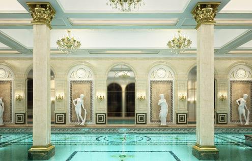 Bể bơi bên trong tòa nhà.