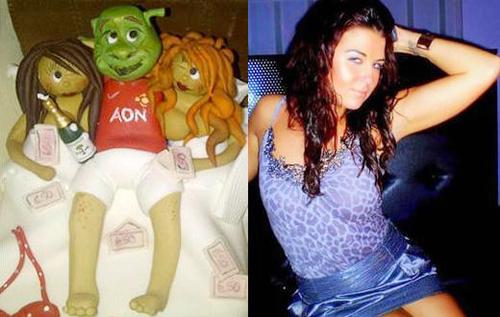 Jenny Thompson, gái gọi của Rooney, đón tuổi 22 với chiếc bánh sinh nhật gợi nhớ scandal đình đám của cô, cô bạn Helen Wood và chàng Shrek.
