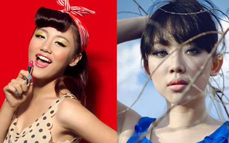 Văn Mai Hương (trái) sử dụng phấn mắt màu nhũ vàng và Tóc Tiên (phải) trông bí ẩn hơn với phấn mắt màu xám đen.