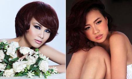 Tóc layer có thể sấy cụp như Diễm Hương (trái) hay uốn xoăn giống Đinh Ngọc Diệp (phải). Tất cả đều tạo cho khuôn mắt sự trẻ trung, cá tính