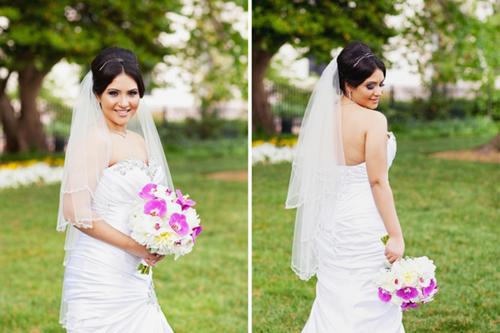 Cô dâu chọn bó hoa lan tím nổi bật...